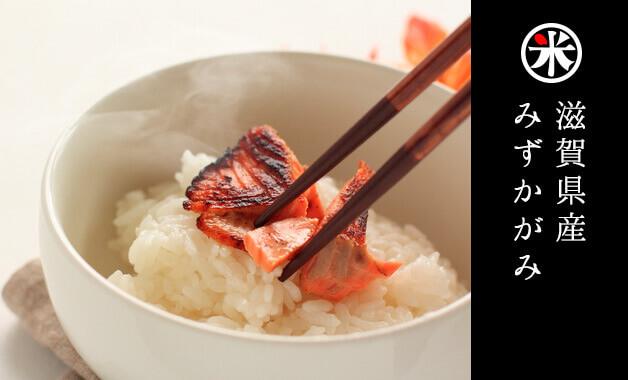 みずかがみは、滋賀県の新ブランド米。琵琶湖の豊かな水をイメージした名前が特徴的なお米です